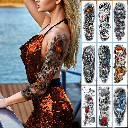 Large Arm Sleeve Tattoo Flame Planet Moon Waterproof