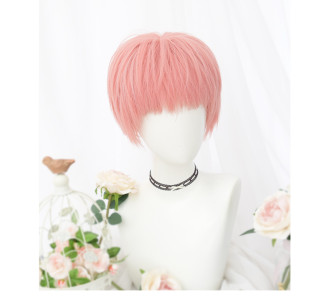 Personality short pink wig