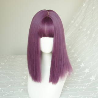Pmedium length purple wigs