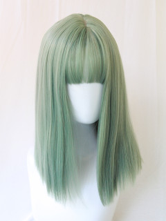 Medium long green wig