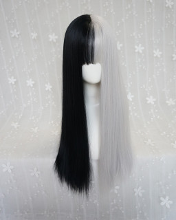 Punk style long straight hair