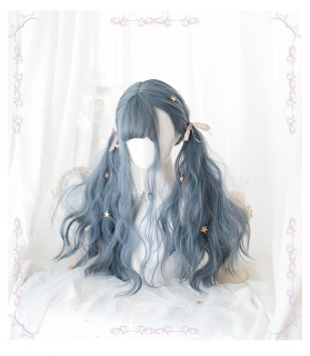 Long curly gray-blue gradient hair