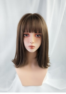 Cold brown wig of medium length