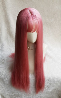 Pink long straight hair
