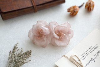 Camellias silk bow hair clip