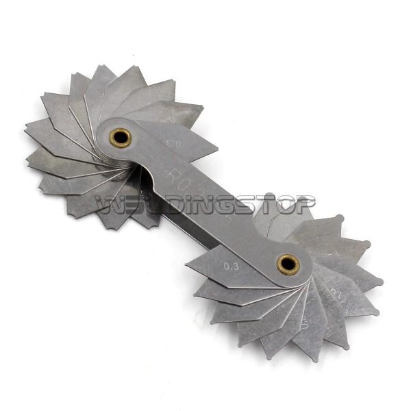 Radius gage Gauge Fillet set R0.3~1.5mm Concave Convex arc end internal external