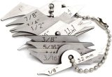 Welding Gauge 11pieces Key Chain Set Weld Fillet Throat/Leg Length Gage 5/16''-7/8''(7.9mm-22.2mm) Inch/mm Stainless Steel