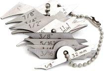 Welding Gauge 11pieces Key Chain Set Weld Fillet Throat/Leg Length Gage 5/16''-7/8''(7.9mm-22.2mm) Inch/mm Stainless Steel
