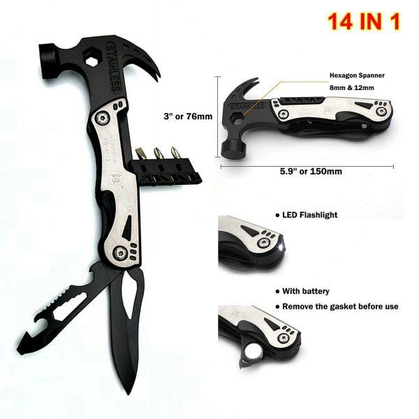 14 In 1 Multifunction Camping Hammer Knife Tool Scraper Bottle Opener LED Light