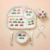 5 set Natural Bamboo Fiber Baby Tableware Dish Bowl Fork Spoon Cup Set
