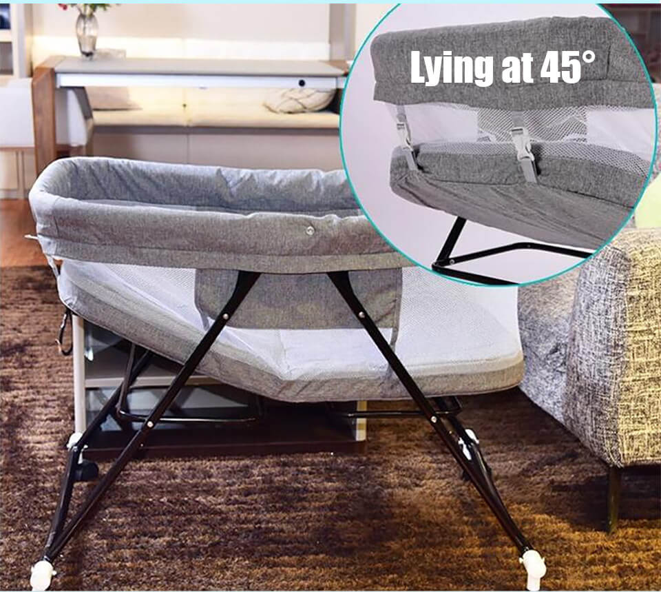 Foldable Baby Bed can lying at 45°