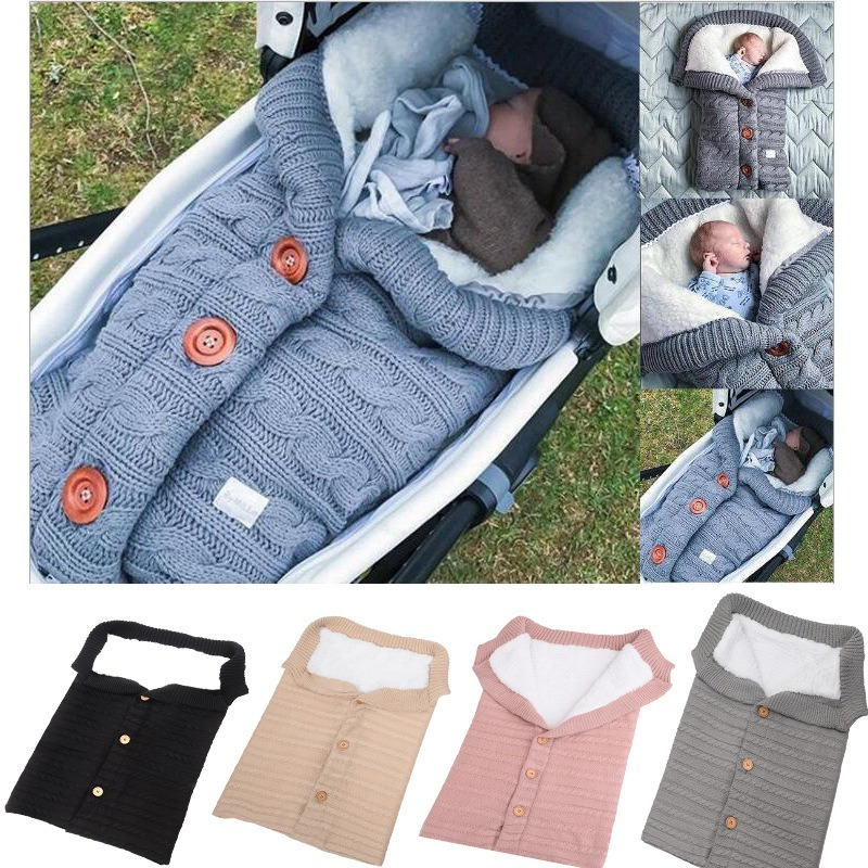 Baby Plush Button Sleeping Bag Infant Stroller Sleeping Sack Winter Warm Soft Cotton Toddler Blanket Swaddling Wrap Sleep Sack