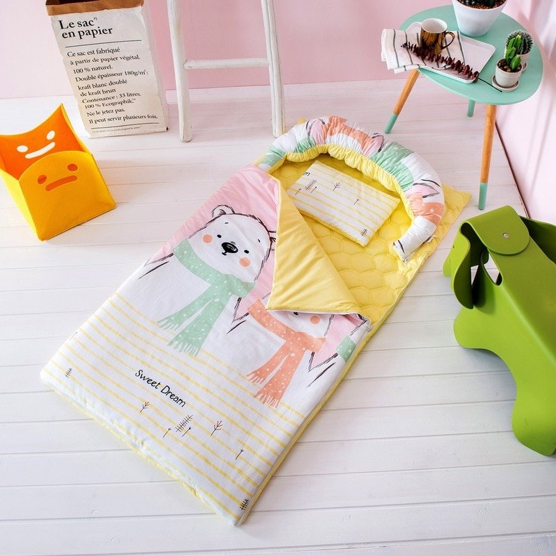 4pcs Cotton Baby Sleeping Bag Anti Tipi Sleepsacks Detachable Cute Animal Mattress Quilt Pillow Universal Kids Kindergarten
