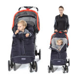 baby sit in navy stroller footmuff