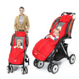 baby sit in red stroller footmuff