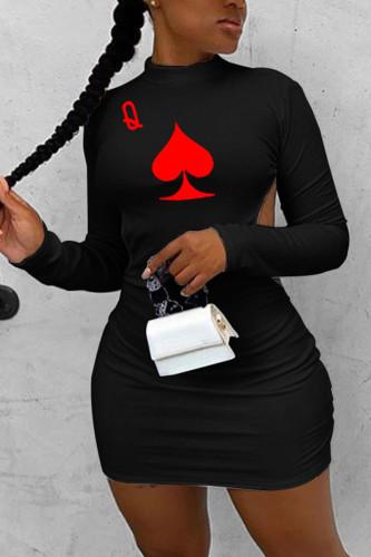 Black Polyester Fashion adult Ma'am Street Cap Sleeve Long Sleeves O neck Step Skirt Knee-Length Print backless Dresses