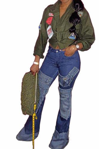 Army Green Turndown Collar Patchwork Polyester Blazer & Suits &Jacket YS52167