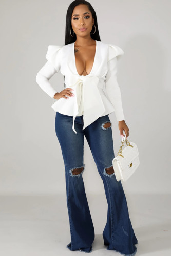 White cardigan Patchwork ruffle Solid Polyester Pure Long Sleeve Suit jacket WY361238