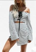 As Show Brief Slash neck Long Sleeve skirt Club Dresses