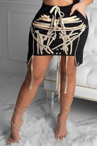 Black Fashion Sexy Polyester Patchwork Print Solid Bandage Split Joint Strap Design Skinny BOTTOMS
