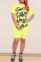 Yellow Cotton Sexy Letter Print Straight Short Sleeve Two Pieces