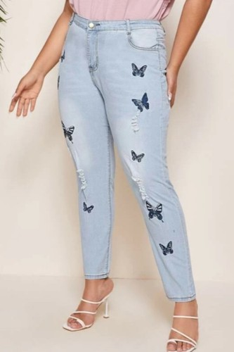 Light Blue Denim Fashion Casual adult Patchwork Embroidery Stitching Pattern Plus Size