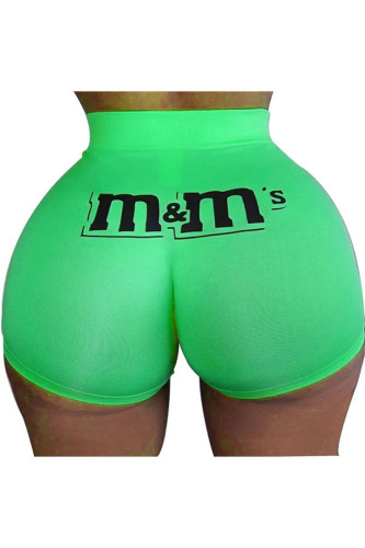 Green Polyester Elastic Fly Low Print Straight shorts BOTTOMS