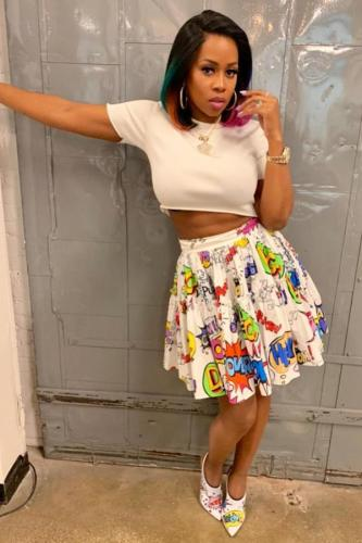 White Polyester Elastic Fly Mid Patchwork Draped Print Pleated skirt shorts Skirts GL221189