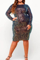 Multi-color Polyester Fashion Sexy adult V Neck Patchwork Sequin tassel Stitching Plus Size Dresses IF65079