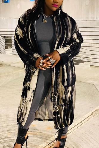 Black Fashion Celebrities Adult Cotton Striped Print Cardigan Turndown Collar Outerwear