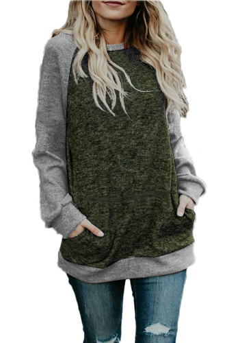 Light Gray O Neck Long Sleeve Patchwork Sweaters & Cardigans DL334542
