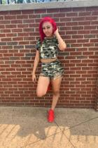 Camouflage Polyester Casual Fashion crop top Camouflage Two Piece Suits Bandage Regular Short Sleeve Two-Piece Short Set YZ031191