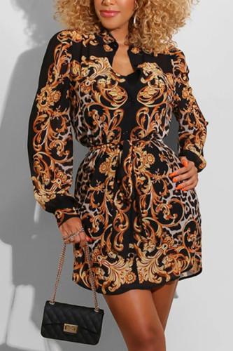 Black Casual Polyester Fiber Print Cardigan Shirt Collar TOPS