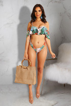 Green Polyester Patchwork Print Sexy Fashion Bikinis Set MO161204