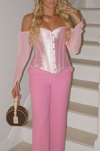 Pink Polyester One word collar Long Sleeve Patchwork Solid backless TOPS