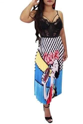 Multi-color Polyester Drawstring High Character Striped Graffiti Pleated skirt Pants Skirts