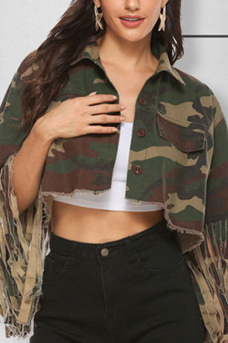 Camouflage Turndown Collar tassel Camouflage Sequin Polyester Others Long Sleeve Outerwear