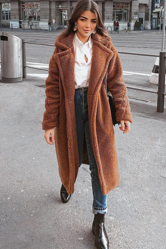 Brown Turndown Collar Solid Patchwork Polyester Pure Long Sleeve Coats & Cardigan