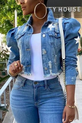Baby Blue Casual Denim Print Buckle Turndown Collar Plus Size