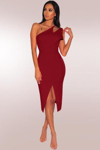 Red Polyester Fashion Sexy One Shoulder Sleeveless Asymmetrical Collar Sheath Mid-Calf hole Solid asymmetrical split hollow out Party and Cocktail Dresses LR2610136