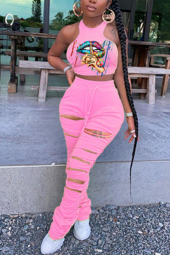 Pink Polyester Fashion adult Ma'am Street Print Hole Two Piece Suits pencil Sleeveless Two Pieces