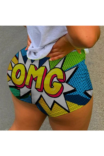 multicolor Polyester Elastic Fly Low Letter Print Straight shorts BOTTOMS