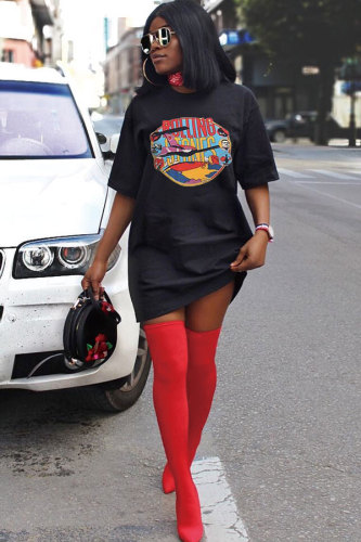 Black Polyester Sexy Fashion Cap Sleeve Short Sleeves O neck Step Skirt Mini Patchwork Print Print Dresses FN231216