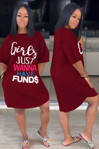 Wine Red Sexy Short Sleeves O neck A leaf skirt Knee-Length Print Character Dresses