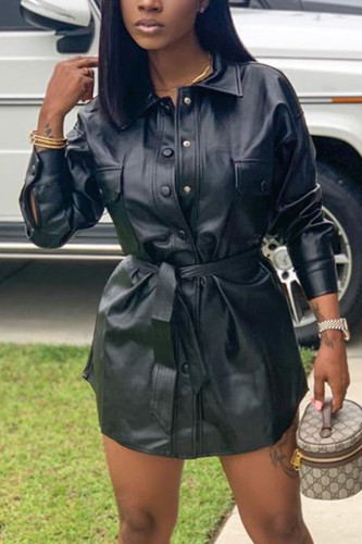 Black Polyester Faux Leather Patchwork Split Joint Buckle Basic Turn-back Collar Long Sleeve Mini A Line Dresses