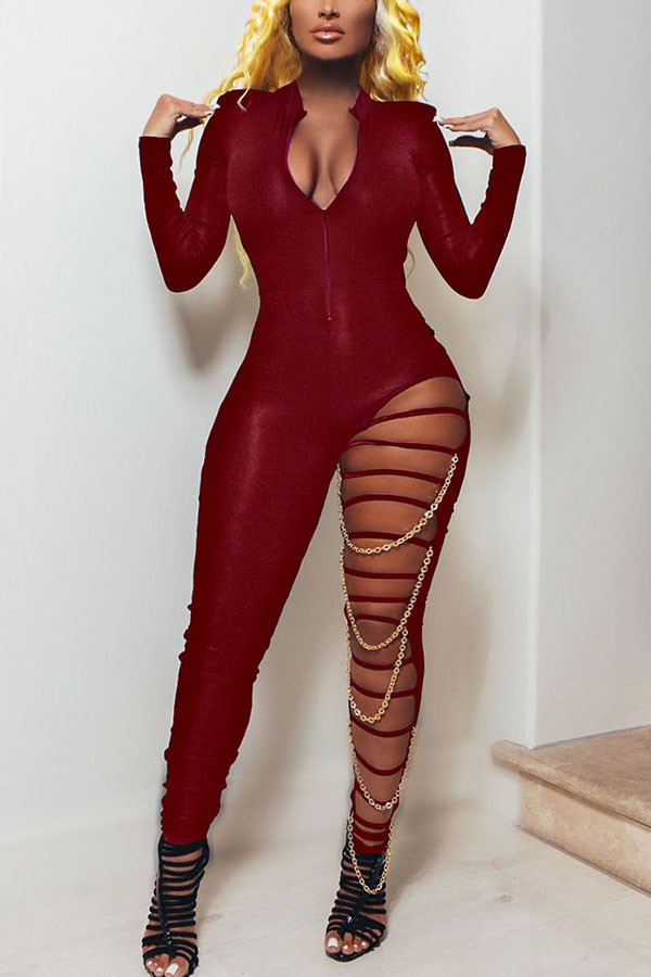 Red Fashion Sexy Adult Polyester Solid Ripped Split Joint V Neck Skinny Jumpsuits