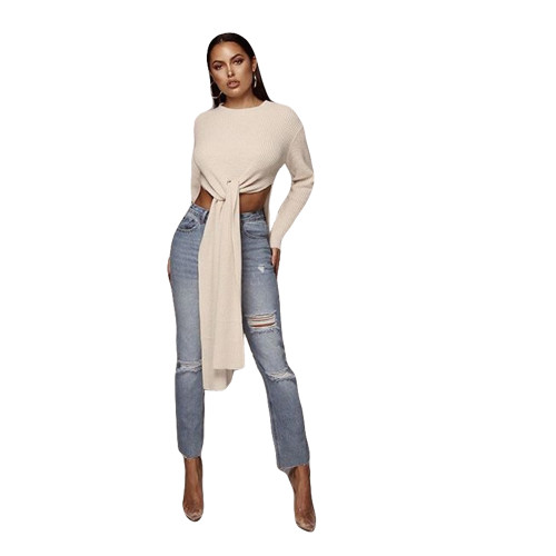 Apricot O Neck Long Sleeve Solid Split Sweaters & Cardigans CY77064