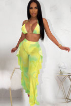 Yellow Polyester Fashion Sexy Print Patchwork Stringy selvedge Straight Sleeveless Two-piece Pants Set