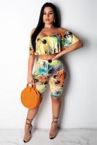 Yellow Polyester Sexy Fashion Patchwork Print Straight WN501187