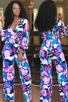 Blue Casual Print Floral Polyester Long Sleeve V Neck Jumpsuits TH117019